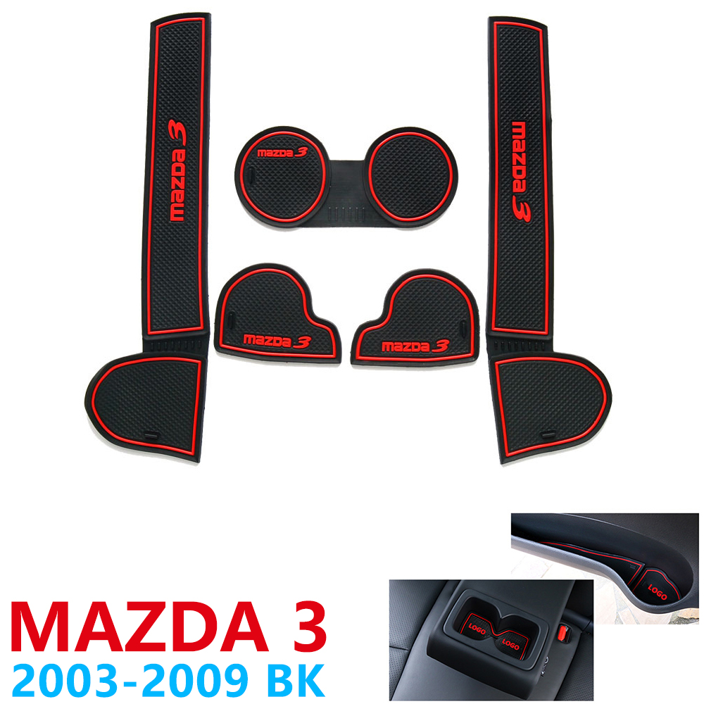 Anti-Slip Rubber Cup Cushion Door Groove Mat for <font><b>Mazda</b></font> <font><b>3</b></font> BK MPS 2003~2009 2004 2006 <font><b>2008</b></font> Accessories Car Stickers mat for phone image