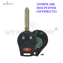 цена на Remtekey H0561-C993A Remote key 2+1 button 434Mhz CWTWB1U751 with 46 chip for 2008 - 2013 Nissan Cube Rogue