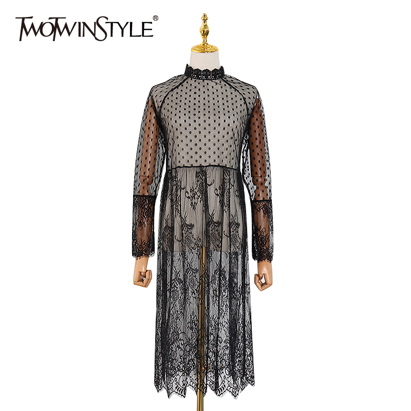TWOTWINSTYLE Patchwork Lace Mesh Polka Dot Women's Dress Long Sleeve Tassel Casual Dresses Female Spring Fashion New 2020