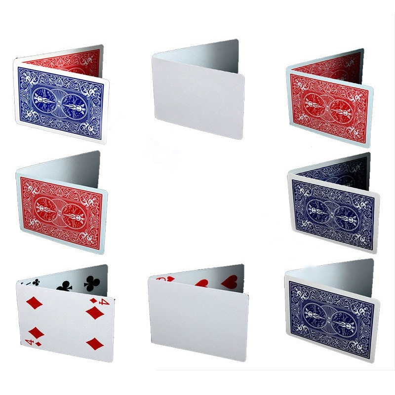 8pcs Special Gaff Cards Magic Tricks Red/Blue, Double Face/Back/Blank, Face/Blank For Magician Use Magic Props