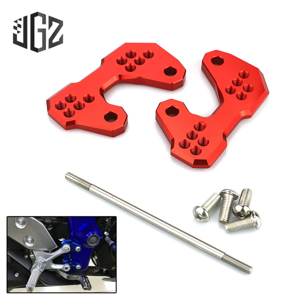 Motorcycle CNC Aluminum Passenger Foot Pad Pedal Back Shift Bracket For <font><b>Yamaha</b></font> YZF R25 <font><b>MT25</b></font> R3 ABS MT03 2015 2016 2017 2018 Blue image