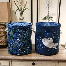 New 1 Pcs Laundry Baskets Spaceship Stars And Moon Series Pattern Toys Barrels Canvas Dirty Clothes Barrels Home Decorations(China)