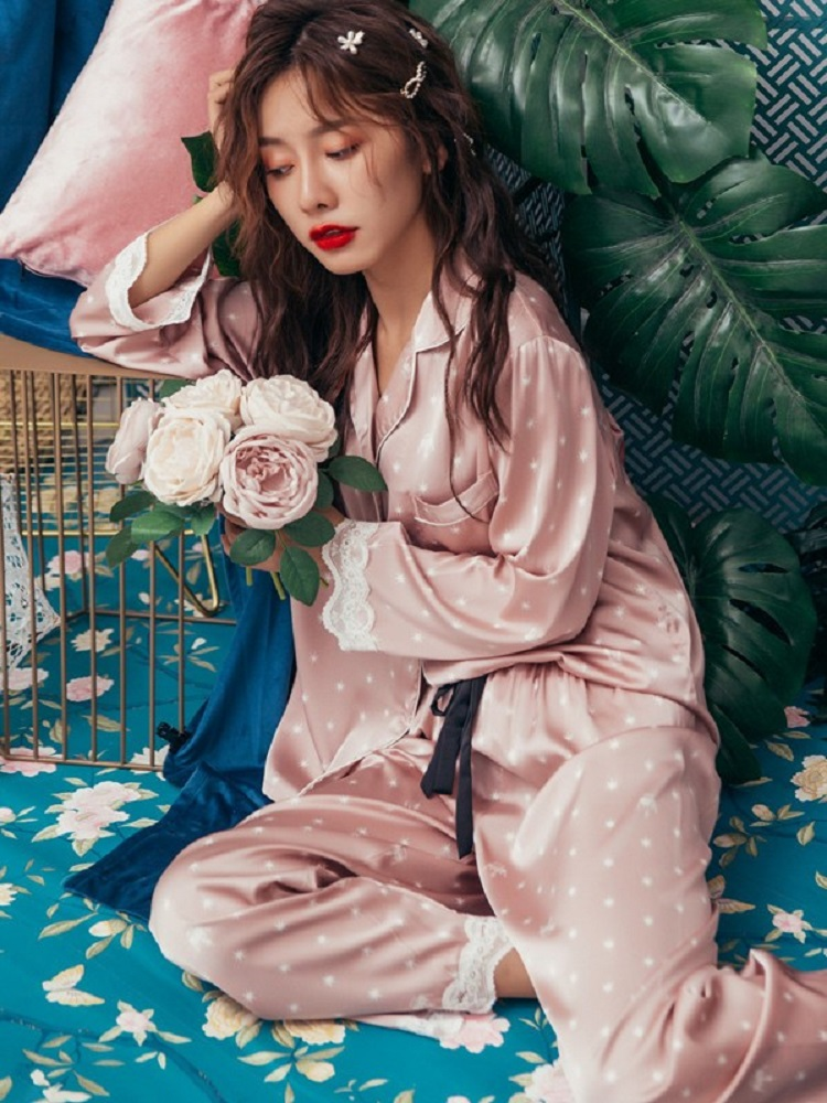 Lisacmvpnel Suit Pyjamas Long-Sleeve Fashion Women Lace Sweet Print Cuff-Trousers