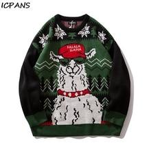 ICPANS Sweater Streetwear Men Women Hip Hop Knitted Pullover Checkered Autumn 2019 Retro Street Christmas