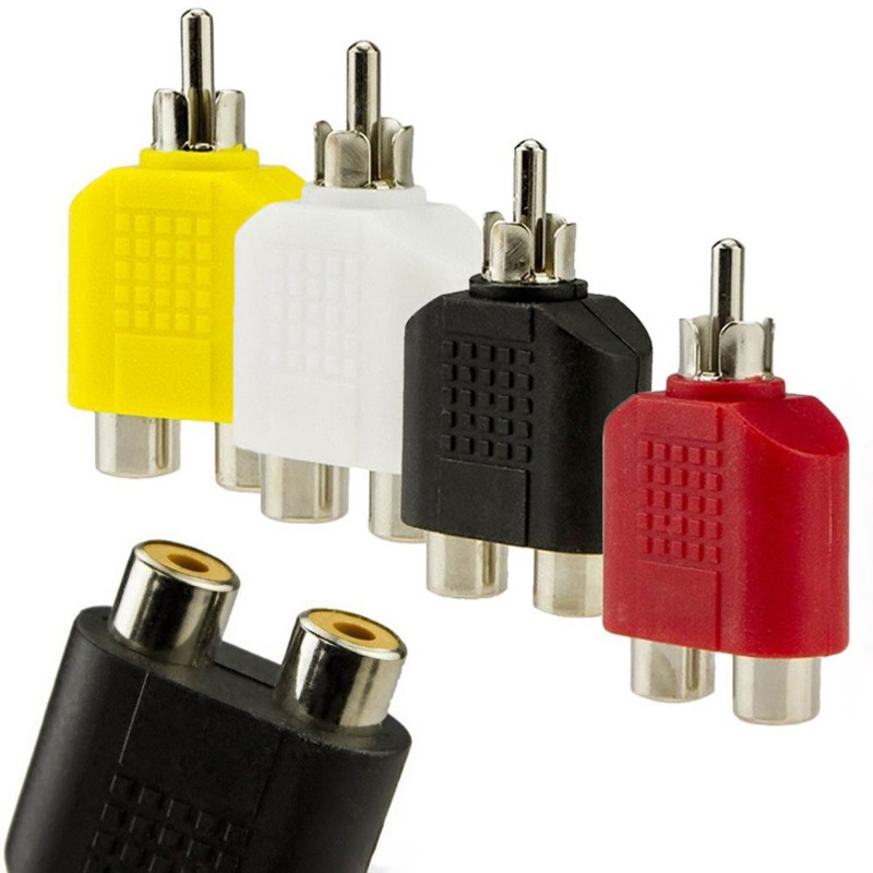 SIFREE Adapter New AV Audio Video <font><b>Plug</b></font> Adapter Cable <font><b>RCA</b></font> Y 1-Male to 2-Female Splitter <font><b>4</b></font> <font><b>RCA</b></font> Male to 2RCA Female converters image