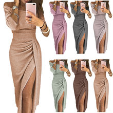 European and American autumn women's bag hip slits and one-line neck shiny party dress