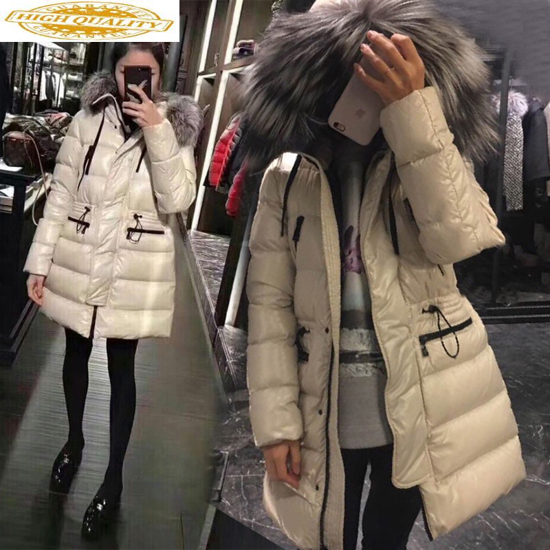 2020 Winter White Duck Down Jacket Women Hooded Big Fur Collar Long Puffer Down Coat Korean Warm Piumino Donna KJ3703
