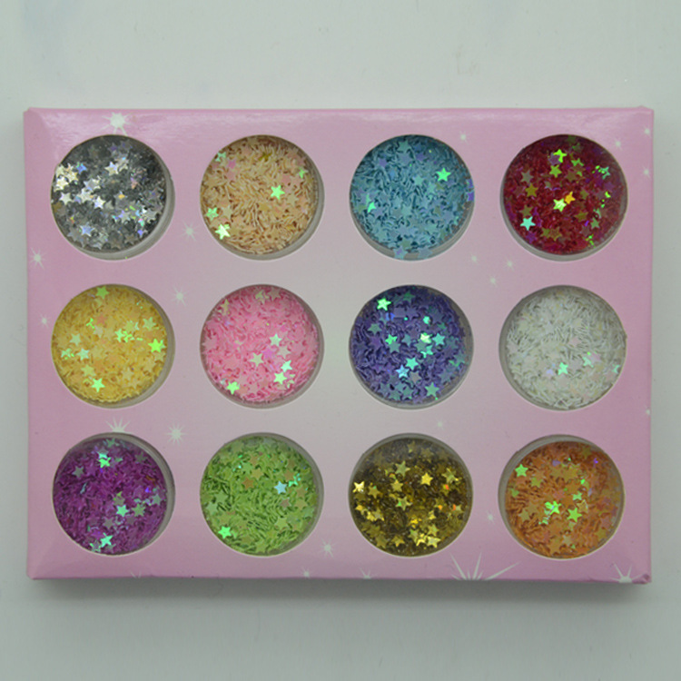 Better Think Nail Ornament 12 Color Sequin Manicure Stickers Caviar Nail Sticker Manicure Shimmering Powder