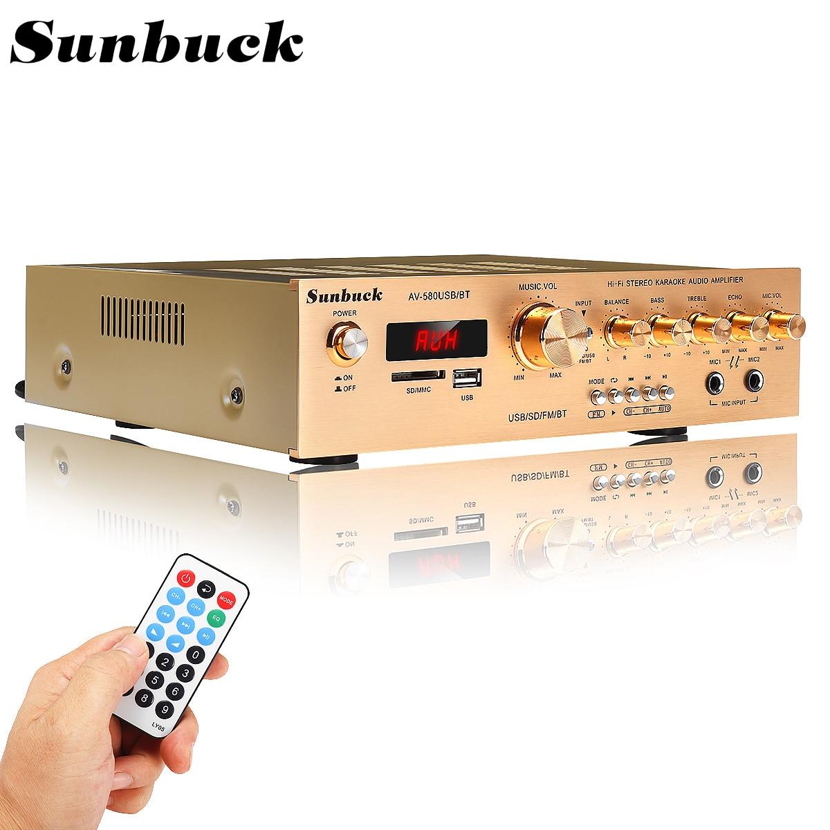 Sunbuck 5 canais bluetooth5.0 fm amplificador estéreo de alta fidelidade led digital karaoke cinema em casa amplificadores de cinema em casa