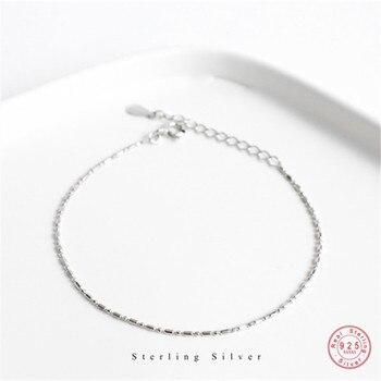 Pulsera de cadena de plata de ley 925 para mujer, estilo minimalista, clásica, para estudiantes, parejas, accesorios de joyería