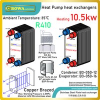 9000KCAL copper brazed PHE is designed for 3HP R410a water source heat pump water chillers for heating & cooling by demands