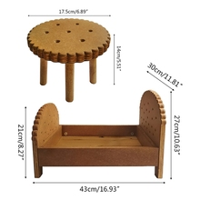 Desk-Kit Newborn Baby Table-Set Wooden Posing Photo-Shooting Mini Bed 2pcs Cookie-Crib