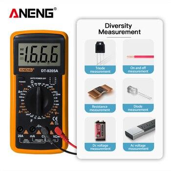 Multímetro Digital DT9205A, medidor de transistores AC/DC, medidor de prueba eléctrica esr...