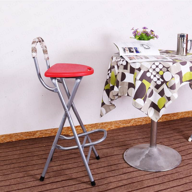 High Leg Stools With Back Folding Balcony Stool Bar Stool Portable Front Desk Chair Bearing 90kg,W
