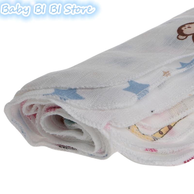 Купить с кэшбэком 10pcs 28*28cm Soft Baby Bath Towel Infant Muslin Towel Newborn Washcloth Feeding Kid Face Cloth Children Handkerchiefs Two Layer