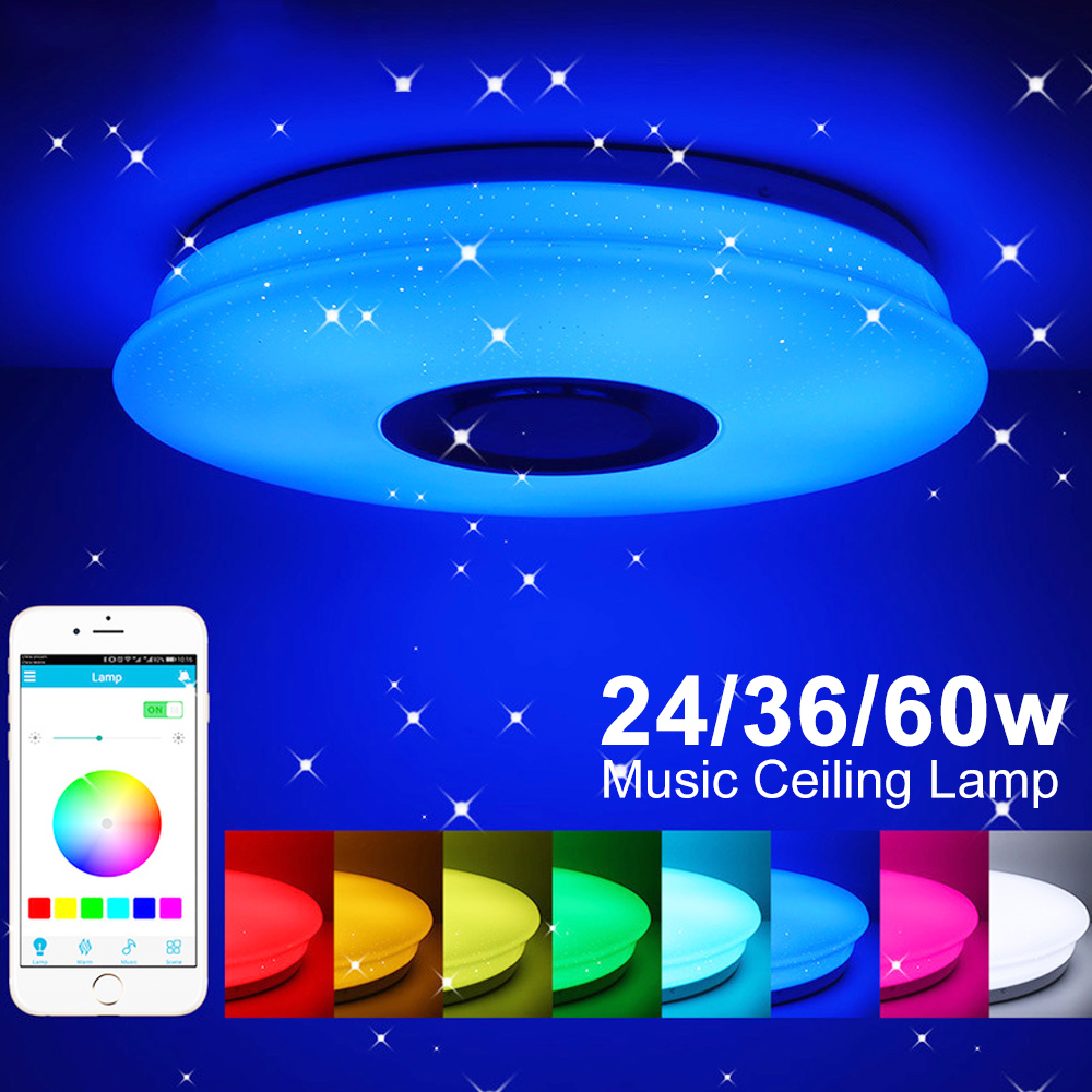 LED Music Ceiling Light Bluetooth Brightness Dimmable Cellphone APP Remote Control Lamp for Living Bedroom 24W/36W/60W
