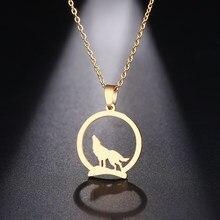 Dotifi aço inoxidável colar para mulher homem lobo na colina pingente gargantilha colar de noivado jóias
