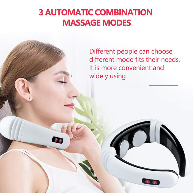 Electric pulse back and neck massager far infrared heating pain relief tool healthcare relaxation 4