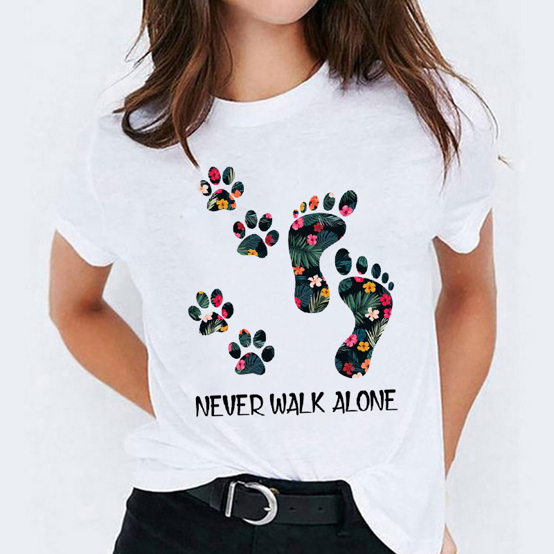 Women Cute Dog Paw Flower Floral Cartoon Ladies Tops Graphic Womens Tees Female Camisas Lady T-Shirt Harajuku T Shirt T-shirts