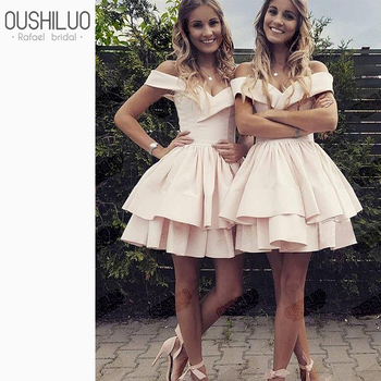 Cute Homecoming Dresses For Teens Off Shoulder Homecoming Dress Pink Tiered Ruffles Sweetheart Prom Dress Short Mini Skirt фото