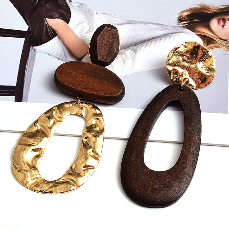 New Arrival Irregularly shaped wooden earring Statement Big Drop Earrings Fashion Trend Fine Jewelry Accessories For Women