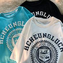 2021 novo verão solto imprimir curto-mangas compridas camiseta feminino casal topos maré verão mais tamanho t camisa para mulheres camisetas gráficas