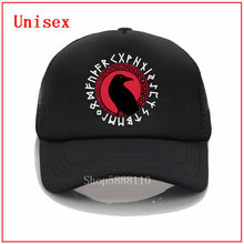 Back designs Futhark The Crow With Raven Celtic Viking black Casual fashion hat Cool Summer Baseball