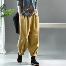 Женские свободные вельветовые брюки, повседневные брюки большого размера с карманами на резинке, Осень зима 2019