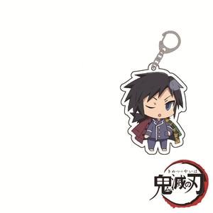 Image 2 - Hot Anime Demon Slayer Kimetsu no Yaiba Keychain Kamado Tanjirou Kamado Nezuko Tomioka Giyuu Acrylic Key Chain 12pcs Wholesale
