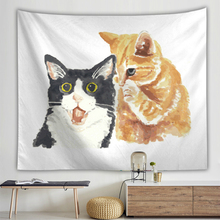 Lovely Cats 3D Printed Wall Hanging Tapestry Cartoon Animal Funny Polyester Camping Tent Travel Mattress Sleeping Pad