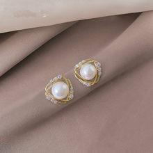 2021 neue Ankunft Frauen Trendy Stud Ohrringe Perle Ohrringe Französisch Elegant Einfache Art Korean Weiblichen Schmuck