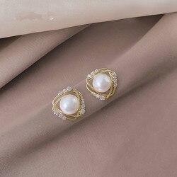 2021 New Arrival Women Trendy Stud Earrings Pearl Earrings French Elegant Simple Fashion Korean Female Jewelry