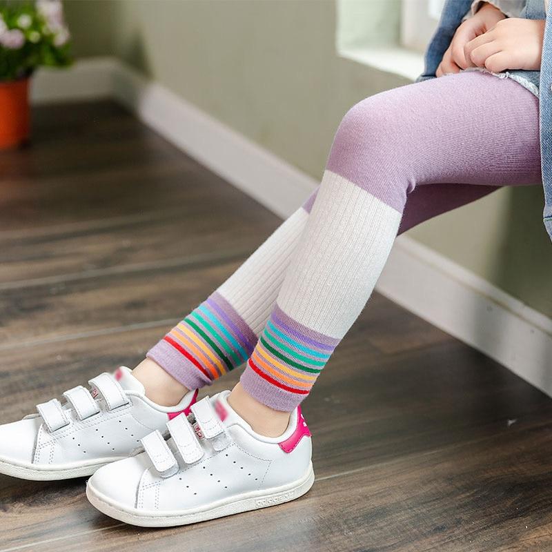 Kids Girls Rainbow Stripe Leggings Elastic Waist Ninth Toddler Pants Cute Bottom Knitting Pants Clothing New Arrival