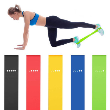 5Pcs/set Resistance Bands with 5 Different Resistance Levels Yoga Bands Home Gym Exercise Fitness Equipment Pilates Training image