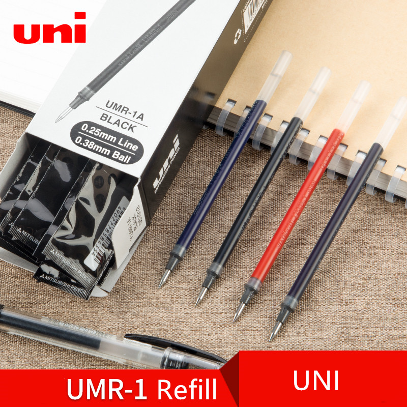 12pcs Japan UNI UM-151 <font><b>Gel</b></font> <font><b>Pen</b></font> <font><b>Refill</b></font> UMR-1 0.28/<font><b>0.38</b></font>/0.5mm Student Writing Exam Business Office Signing <font><b>Pen</b></font> Multicolor Optional image