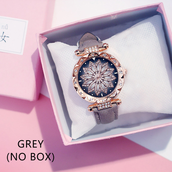 Casual Women Romantic Starry Sky Wrist Watch bracelet Leather Rhinestone Designer Ladies Clock Simple Dress Gfit Montre Femm - Grey