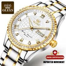 Mannen Mechanisch Horloge Goud Olevs Luxe Automatische Horloge Diamond Sport Rvs Waterdicht Horloge Mannen Relogio Masculino