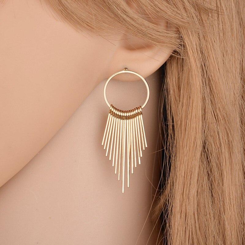 New Metal Tassel Ethnic Earrings Gold Silver Color Statement Geometry Earring For Women Jewelry Handmade Earrings Femme ER200107