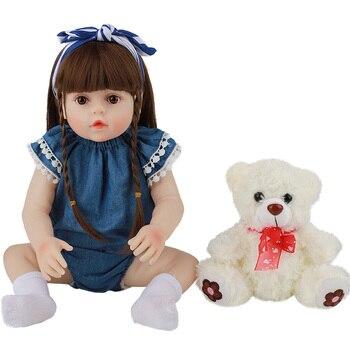 цена на 48cm Baby Doll Reborn Toddler Princess Babies Toy Lifelike Realistic Handmade Bonecas Very Soft Full Body Silicone Girl Dolls