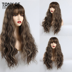 Image 1 - Syntetyczne długie fale Afro naturalne włosy peruki z grzywką dla czarnych kobiet brązowe szare szare faliste peruki z grzywką włókno termoodporne