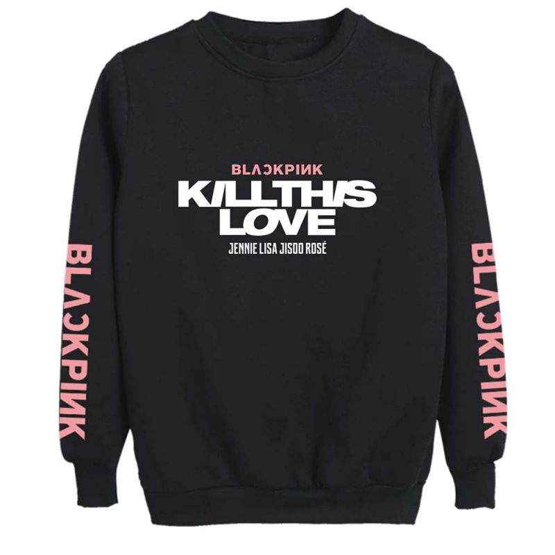 Unisex Lovers Clothes Korean BLACKPINK KILL THIS LOVE Album Letters Printed Sweatshirt Man Woman Pullover