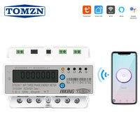 Tuya 3 Phase Din Rail WIFI Smart Energy Meter timer Power Consumption Monitor kWh Meter Wattmeter 3*120V 3*220V 3*230V 50/60Hz