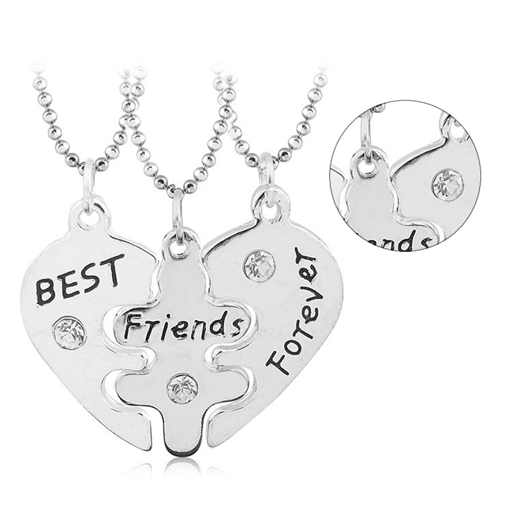 Set of 3 Pieces Heart Shape Lady Silver Good Friendship Jewelry  stitching set chain Best Friend Forever love crystal necklace