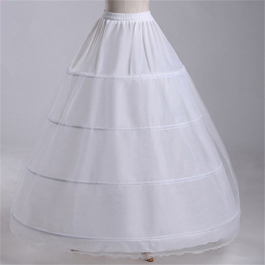 New Wholesale Wide 4 Hoops 1 Layer Tulle Petticoat For Ball Gown Crinoline Underskirt Wedding Accessories Jupon Mariage