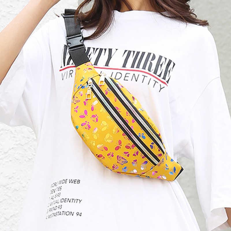 Taille Taschen Frauen Rosa Silber Fanny Pack weiblichen banana Gürtel Tasche Brieftasche Tasche Bein Holographische Taille Packs Laser Brust Telefon beutel