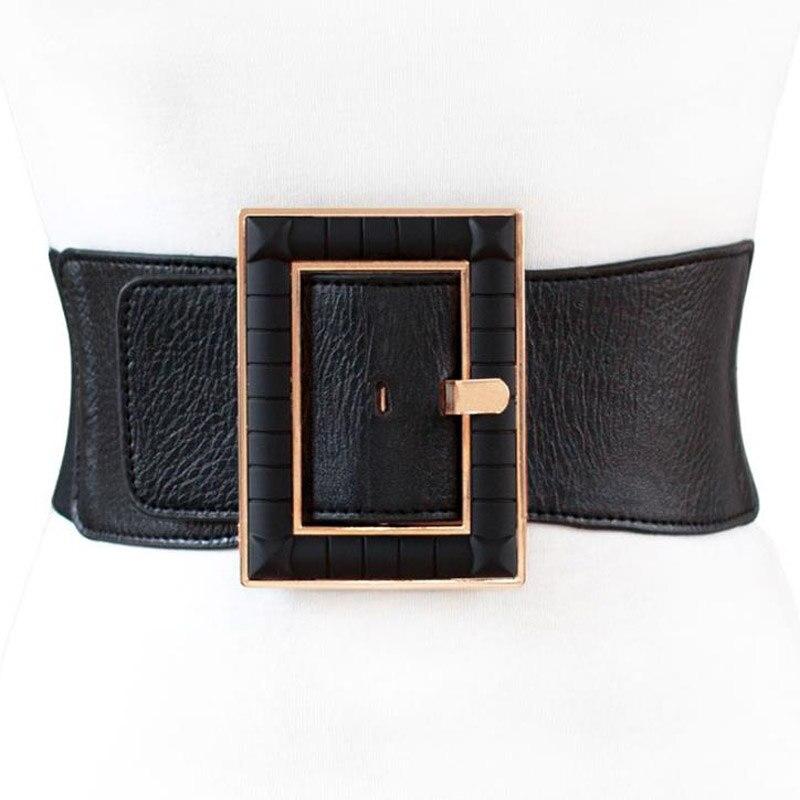 New Fashion Design PU Wide Waist Belts For Women Dress Causal Corset Belt Large Square Buckle Girdle Cummerbunds Accessories