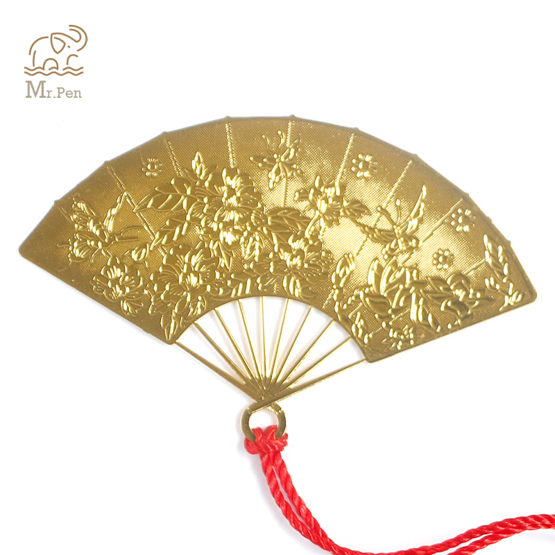 Chinese Style Gold Fan Shape Bookmarks Vintage Metal Bookmark Creative Children Student Stationery Escolar Gifts