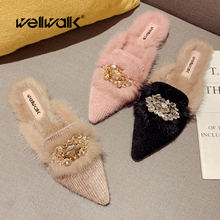 Plush Loafers Women Flat Mules Shoes Rhinestone Decoration Fur Slides Pointed Toe Ladies Winter Furry Home Slippers Unicorn