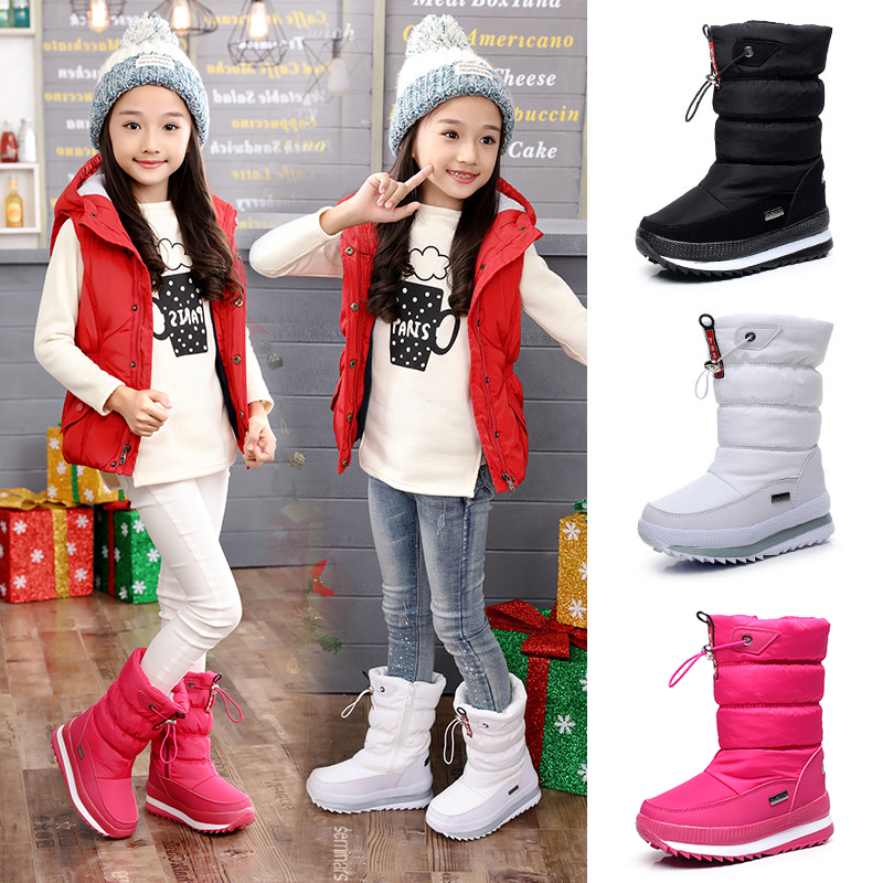 -30 Degree 2019 Winter Girls Winter Boots Waterproof Girl Boots Kids Boots Snow Boots  Warm Children Shoes  Kids Wellies Boys