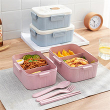 Microwave Lunch Box Wheat Straw Food Storage Container Kids Portable Bento Box New